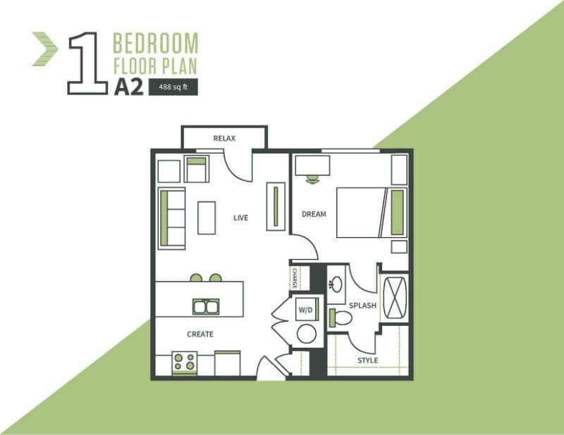 One bed, one bath floor plan