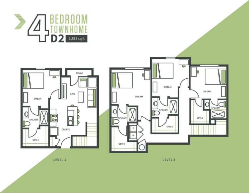 Four bed, four bath floor plan