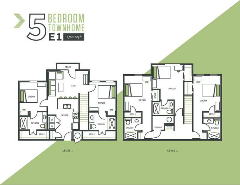 Five bed, five bath floor plan