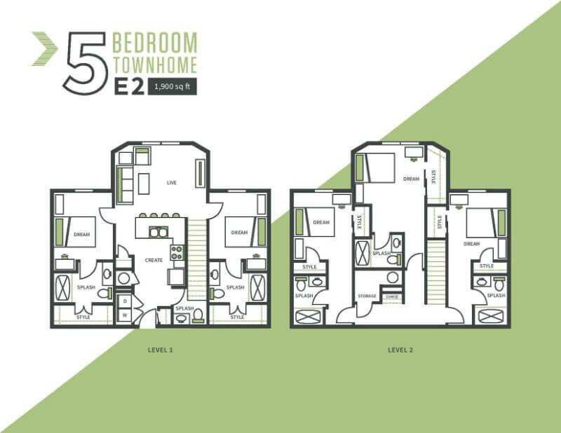 Five bed, two bath floor plan