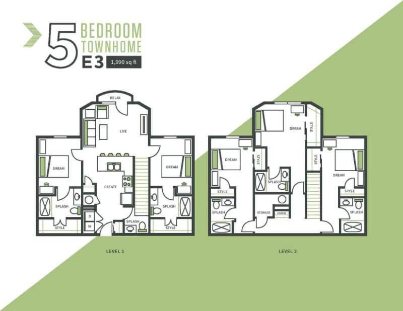 Five bed, three bath floor plan