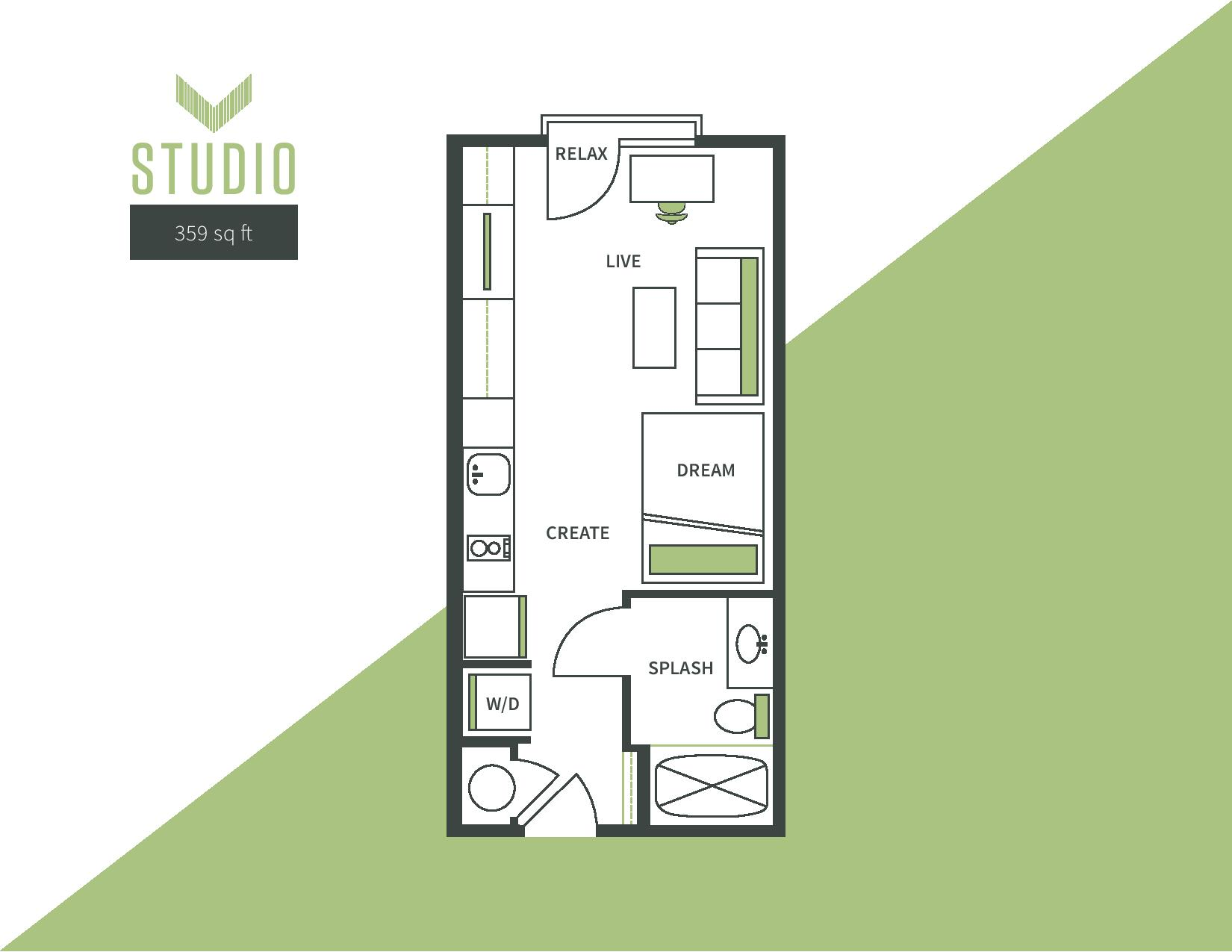 Studio Floor Plan - 359 Sq. ft.